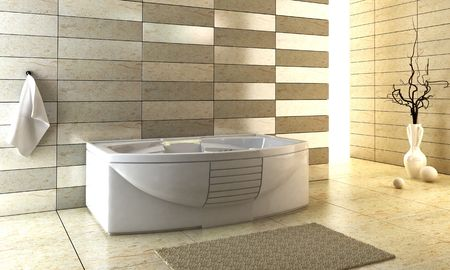 bathroom interior: 3d rendering of the modern bathroom Stock Photo
