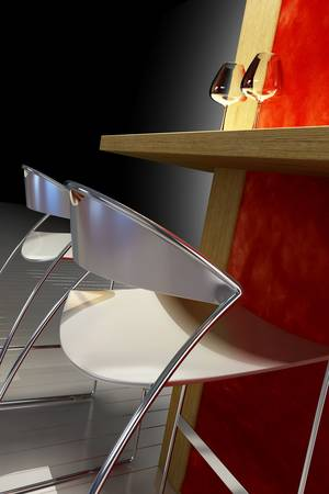facer: 3d rendering of the modern interior with lunch counter Stock Photo
