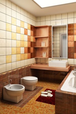eclecticism: 3d rendering of the modern bathroom with tiles