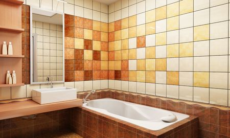3d rendering of the modern bathroom with tiles photo