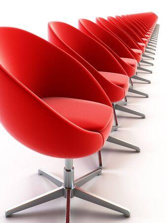 onbepaalde: 3D-rendering de rij fauteuil bereiken over vooruitzichten