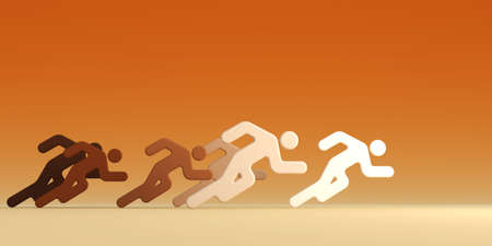 evident: 3d rendering the running people with the evident leader Stock Photo