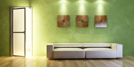 the modern couch beside the wall with green stucco photo