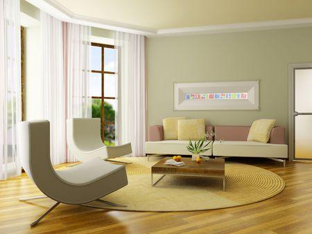 The computer generated 3D image of the modern interior photo