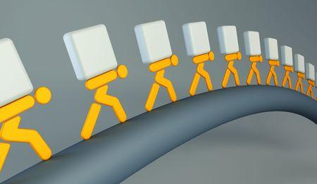 cadenas: 3d hacer que la simb�lica las personas con las cargas