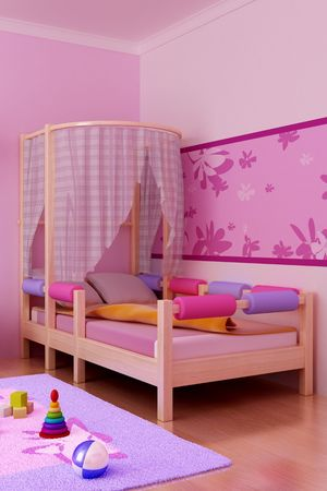 3d interior of the childrens room Stock Photo