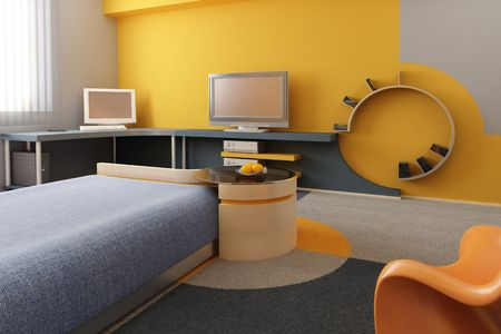 condos: 3d interior of the childrens room Stock Photo