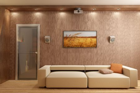 eclecticism: 3d rendering interior with home theatre Stock Photo