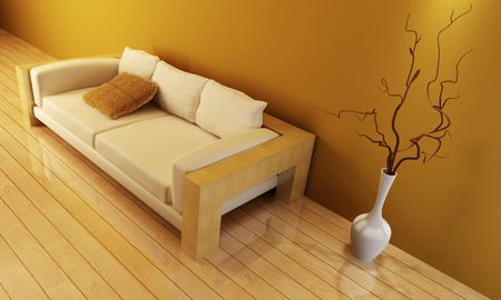 3d interior with modern couch Stock Photo