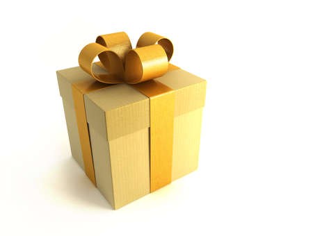 merriment: 3d rendring of the yellow gifts box Stock Photo