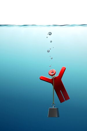 conceptual illustration of the drowning man in the sea illustration