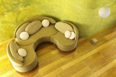 3d inter with modern round couch Stock Photo - 1446506