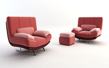 couple red armchairs on white background Stock Photo