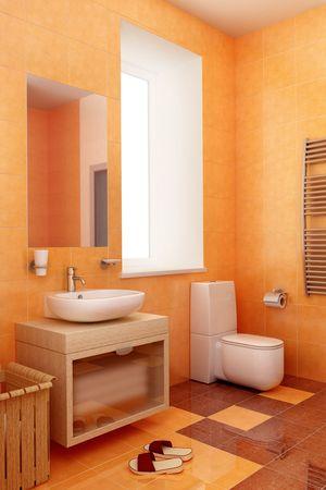 modern orange bathroom interior 3d  photo