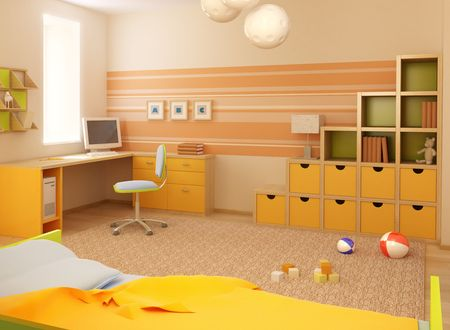 3d interior of the childrens room photo