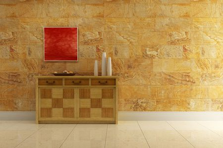 3d interior with classic cupboard beside stone wall