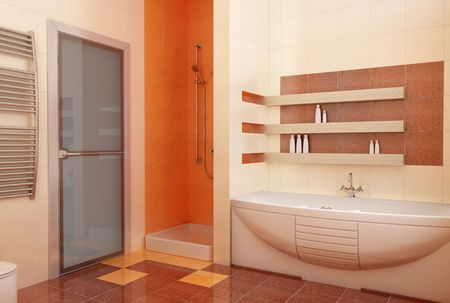 visualisation: modern orange bathroom interior 3d