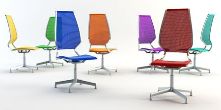 colour group office chairs 3D rendering on white background