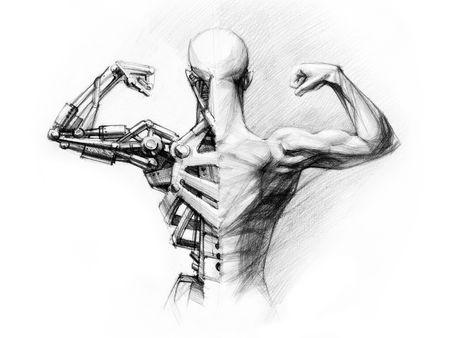bocetos de personas: l�piz de dibujo de la ciborg
