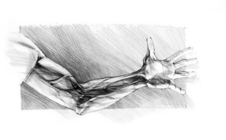might: pencils sketch the human hand