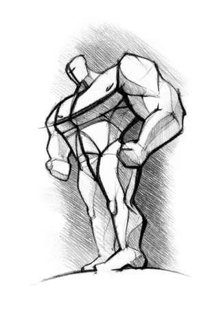 brawny: pencils sketch of the athlete Stock Photo
