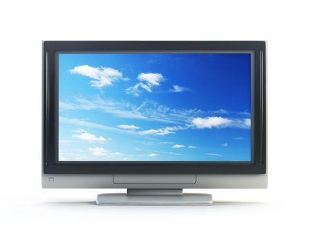 technics: 3d rendering plasma TV on white background
