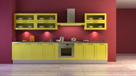 lifestyle dining: pop-art style kitchen interior 3d rendering Stock Photo