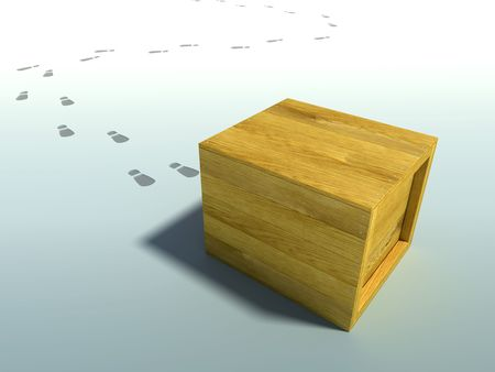 wooden crate: wooden crate 3d rendering with human footsteps Stock Photo
