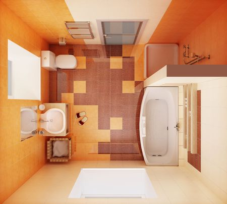 carpet wash: 3d rendering of the modern bathroom from top view