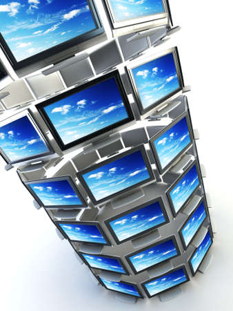 technics: global television concept 3d rendering