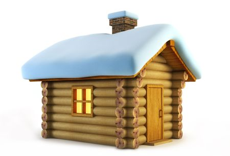 symbolic: symbolic christmas loghouse 3d rendering