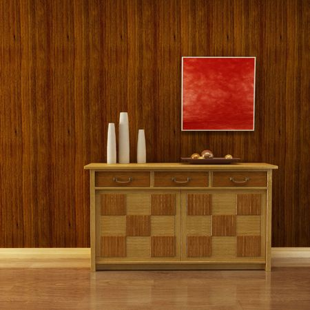 3d interior with classic cupboard beside wooden wall photo