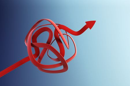 incremental: 3d rendering of the arrow show the solution Stock Photo
