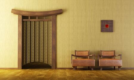 modern living room: 3d rendering of the Chinese lounge room Stock Photo