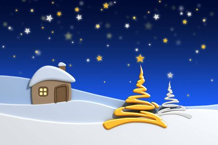 snowdrift: christmas house and fir-tree in snow-drift mountain landscape