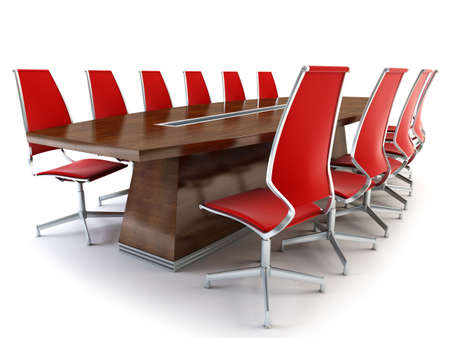 boardroom meeting: boardroom with table and chairs 3d rendering on white background