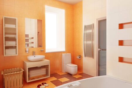 modern orange bathroom interior 3d Stock Photo - 2185621