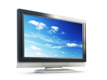 3d rendering plasma TV on white background photo
