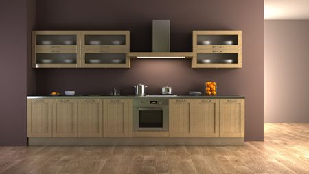 eclecticism: classic style kitchen interior 3d rendering Stock Photo