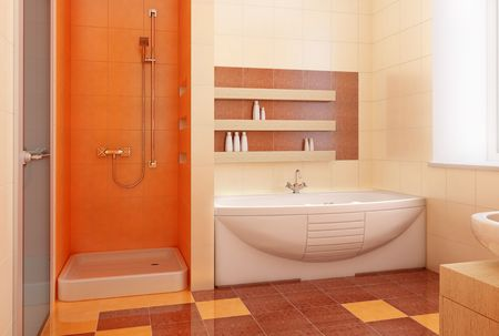 modern orange bathroom interior 3d Stock Photo - 2335475