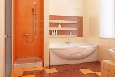 modern orange bathroom interior 3d