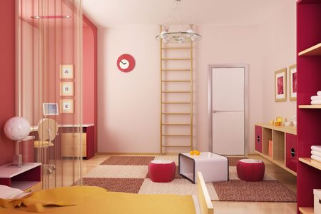 ambient light: 3d interior of the childrens room Stock Photo