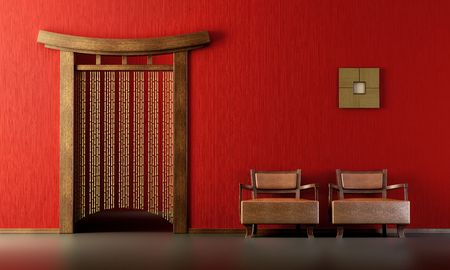 3d rendering of the Chinese lounge room Stock Photo