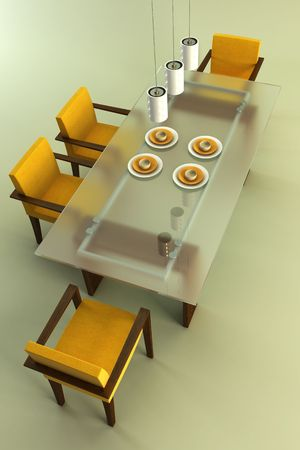 visualisation: 3d rendering of modern dining scene