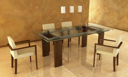 3d rendering of modern dining scene
