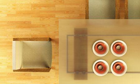 3d rendering of modern dining scene Stock Photo - 2369908