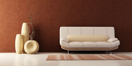 3d interior with couch and vases Stock Photo - 2369920