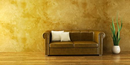 3d inter with modern couch and plant Stock Photo - 2369921