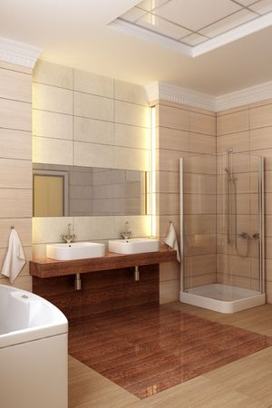 3d rendering of the modern bathroom Stock Photo - 2392488