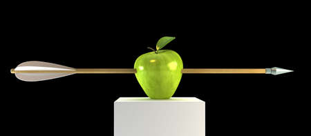 penetrate: 3d scene with pierced apple by arrow